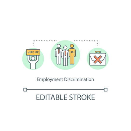 Employment discrimination concept icon. Work and hiring discrimination idea thin line illustration. Workplace favoritism. Gender prejudice. Vector isolated outline RGB color drawing. Editable stroke