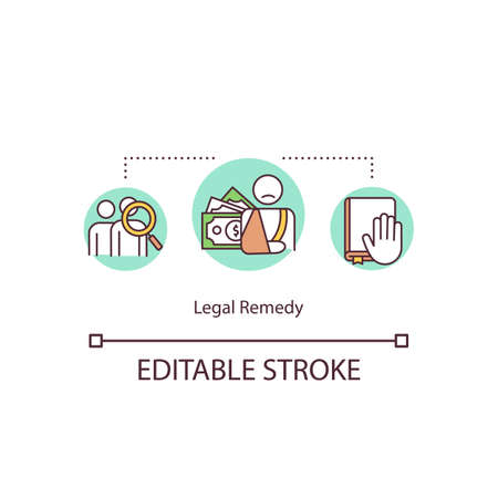 Legal remedy concept icon. Judicial relief idea thin line illustration. Legal relief. Civil law jurisdiction. Compensation. Vector isolated outline RGB color drawing. Editable stroke