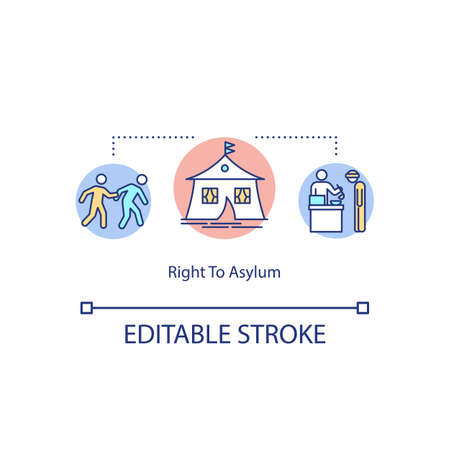 Right to asylum concept icon. Refugee camp idea thin line illustration. Fundamental human rights. Persecution within country. Vector isolated outline RGB color drawing. Editable stroke Ilustração