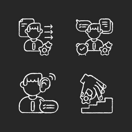 Professional skills development chalk white icons set on black background. Self organization, listening, coaching, brevity and clarity. Personal growth. Isolated vector chalkboard illustrations
