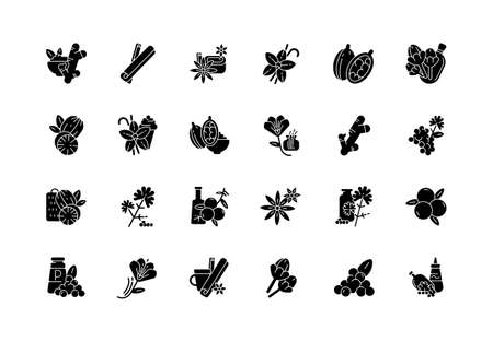 Asian spices black glyph icons set on white space. Culinary herbs. Cooking ingredients. Natural supplements. Cloves and star anise. Cardamom. Silhouette symbols. Vector isolated illustration