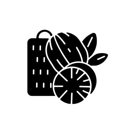 Nutmeg black glyph icon. Nut meg spice. Evergreen tree seeds. Desserts flavoring. Cooking and baking condiment. Organic food. Silhouette symbol on white space. Vector isolated illustration