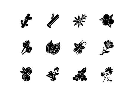 Indian spices black glyph icons set on white space. Aromatic flavoring. Cinnamon and star anise. Coriander and black pepper. Asian seasonings. Silhouette symbols. Vector isolated illustration