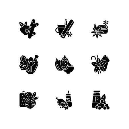Culinary herbs and spices black glyph icons set on white space. Aromatic flavoring. Asian seasonings. Nutmeg and cinnamon. Ginger and cloves. Silhouette symbols. Vector isolated illustration