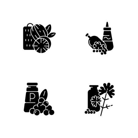 Spicy condiments black glyph icons set on white space. Food seasoning. Natural supplement. Cooking condiment. Mustard and black pepper. Cilantro. Silhouette symbols. Vector isolated illustration