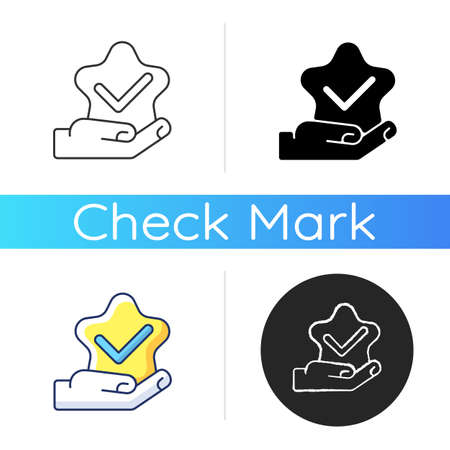 Star review icon. Customer service satisfaction. Client feedback. Vote for best. Quality check. Tick mark. Positive assessment. Linear black and RGB color styles. Isolated vector illustrations