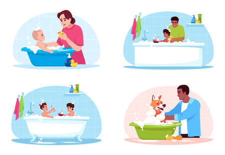 Bathroom washing semi flat RGB color vector illustration set. Mother clean child. Kids play in bathtub. Pet owner wash dog. Family isolated cartoon characters on white background collection