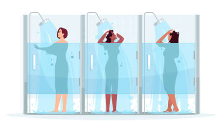 Public female shower semi flat RGB color vector illustration. Woman wash in cabin. Girl clean with soap. Hygiene and body care. Multiethnic women isolated cartoon characters on white background