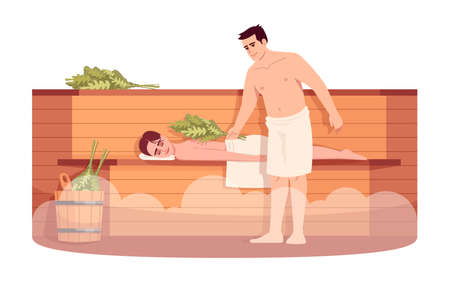 Sauna lounge semi flat RGB color vector illustration. Girl relax on wooden stove shelf. Boyfriend with bath broom massage girlfriend. Man and woman isolated cartoon character on white background