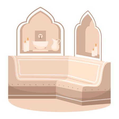 Bathhouse semi flat RGB color vector illustration. Hotel resort washing room. Oriental bathroom. Eastern antique salon. Luxury marble sauna isolated cartoon object on white background