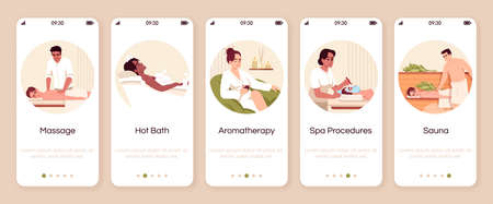 Spa resort procedures onboarding mobile app screen vector template. Hot bath. Aromatherapy for wellbeing. Walkthrough website steps with flat characters. Smartphone cartoon UX, UI, GUI