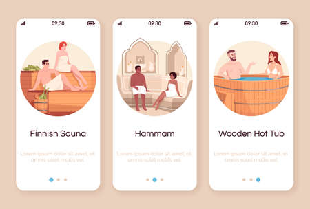 Spa resort for couples onboarding mobile app screen vector template. Finnish sauna. Moroccan hammam. Wooden hot tub. Walkthrough website steps with flat characters. Smartphone cartoon UX, UI, GUI Ilustrace