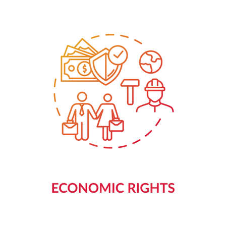 Economic rights concept icon. Socio economic principles idea thin line illustration. Equal rights. Business. Workplace equality. Empowerment. Vector isolated outline RGB color drawing Stock Illustratie