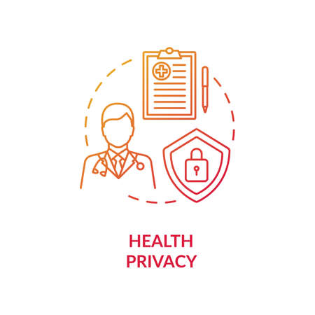 Health privacy concept icon. Medical records privacy idea thin line illustration. Health information privacy protection. Human rights. Medicare. Vector isolated outline RGB color drawing