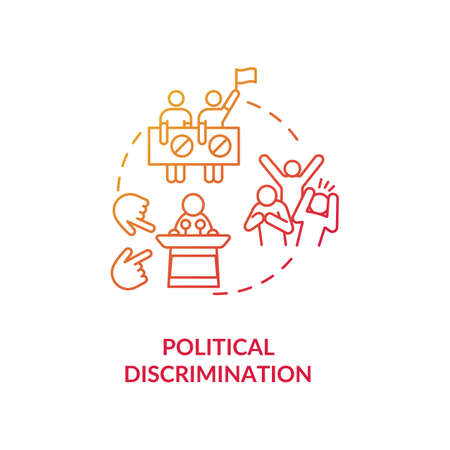 Political discrimination concept icon. Human rights mistreatment idea thin line illustration. Political views and beliefs freedom. Inequality. Vector isolated outline RGB color drawing Vecteurs