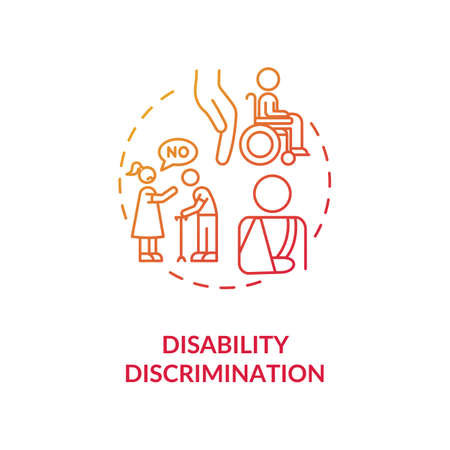Disability discrimination concept icon. Disabled people mistreatment idea thin line illustration. Accessibility. Human rights. Social work. Vector isolated outline RGB color drawing