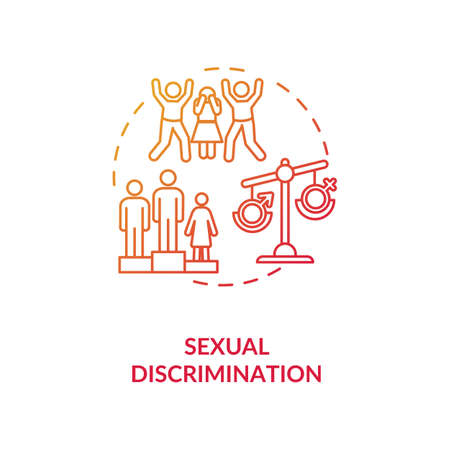 Sexual discrimination concept icon. Sexual prejudice and school bullying idea thin line illustration. Gender based mistreatment. Human rights. Vector isolated outline RGB color drawing Vecteurs