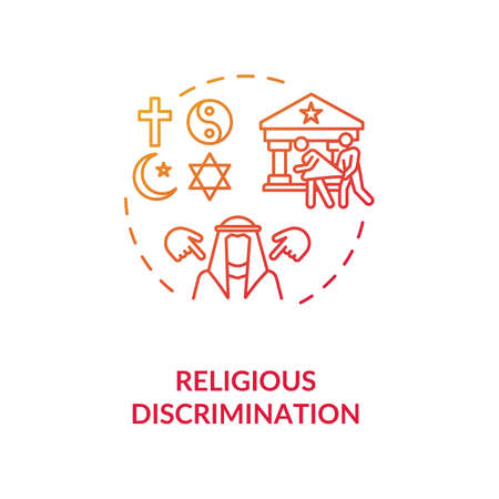 Religious discrimination concept icon. Mistreatment based on religion idea thin line illustration. Segregation. Human rights. Religious prejudice. Vector isolated outline RGB color drawing Vecteurs