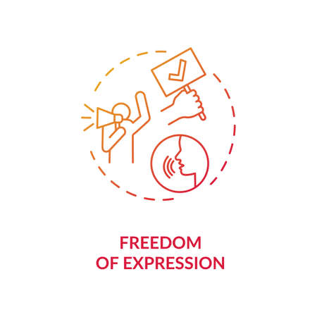 Freedom of expression concept icon. Free speech idea thin line illustration. Freedom of expressing opinion. Fundamental human rights. Amendment. Vector isolated outline RGB color drawing