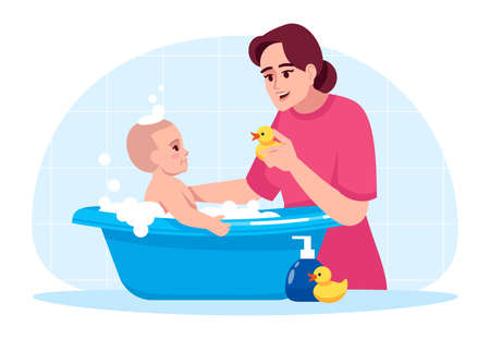 Baby hygiene semi flat RGB color vector illustration. Toddler in bathtub. Mother washing baby. Kid play in bathroom. Family bonding. Happy mum wash son isolated cartoon character on blue background Vettoriali