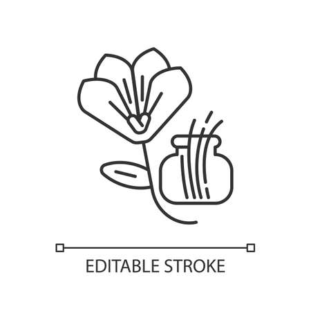 Saffron linear icon. Saffron crocus. Expensive spice. Supplement. Food seasoning and coloring. Thin line customizable illustration. Contour symbol. Vector isolated outline drawing. Editable stroke Ilustracje wektorowe