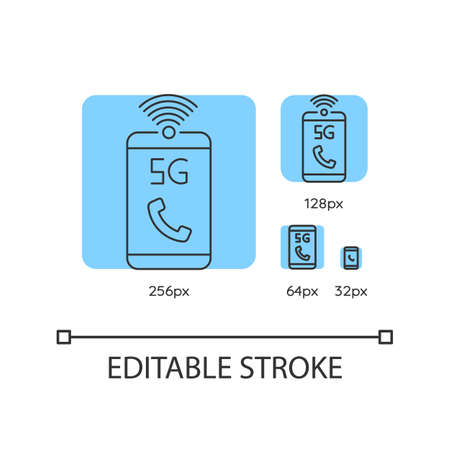 5G mobile network blue linear icons set. Improved standard for phone calls. Wireless technology. Thin line customizable 256, 128, 64 and 32 px vector illustrations. Contour symbols. Editable stroke