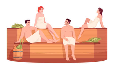 Public sauna semi flat RGB color vector illustration. Public russian stove for female and male. Finnish bathhouse. Friends in spa resort isolated cartoon character on white background