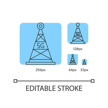 5G fast speed connection blue linear icons set. Mobile cellular network. Wireless technology. Thin line customizable 256, 128, 64 and 32 px vector illustrations. Contour symbols. Editable stroke 矢量图像