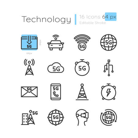 5G wireless technology linear icons set. Network coverage from telecom tower. Customizable thin line contour symbols. Isolated vector outline 64 x 64 px illustrations. Editable stroke