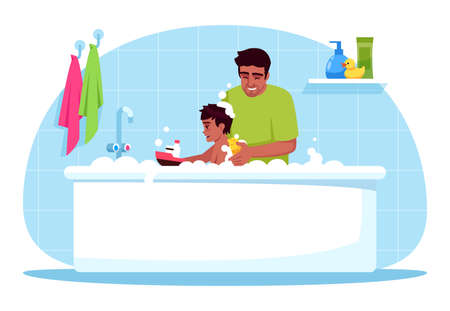 Father washes son semi flat RGB color vector illustration. Family time. Daddy give baby bubble bath. Child care and hygiene. Dad with toddler isolated cartoon character on blue background Vettoriali