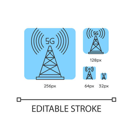 5G cell tower blue linear icons set. Antenna signal. Wireless technology. Fast connection. Thin line customizable 256, 128, 64 and 32 px vector illustrations. Contour symbols. Editable stroke