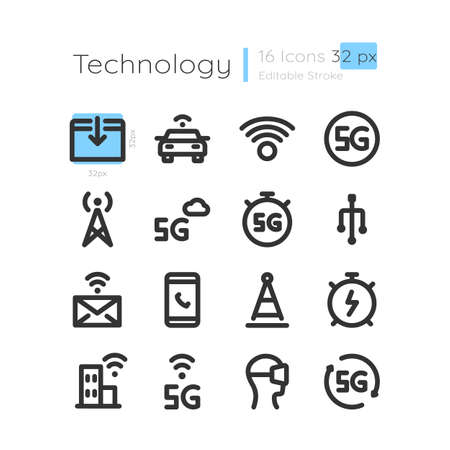 Connection coverage linear icons set. Innovative telecommunication. Remote signal for device. Customizable thin line contour symbols. Isolated vector outline 32 x 32 px illustrations. Editable stroke 矢量图像