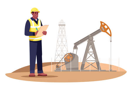 Oil extraction engineering semi flat RGB color vector illustration. Oil rig operator. Petroleum production. Gas industry male worker isolated cartoon character on white background Vetores