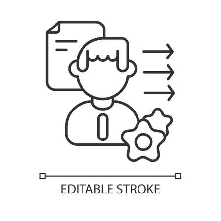 Brevity and clarity linear icon. Professional competence, soft skills development thin line customizable illustration. Contour symbol. Personal growth. Vector isolated outline drawing. Editable stroke