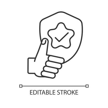 Reliability linear icon. Quality assessment, positive feedback, good rating. Dependability thin line customizable illustration. Contour symbol. Vector isolated outline drawing. Editable stroke