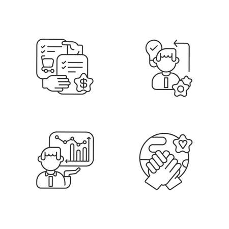 Business skills linear icons set. Customizable thin line contour symbols. Selling skills, diligence, corporate presentation and tolerance. Isolated vector outline illustrations. Editable stroke