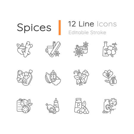 Classic spices linear icons set. Food seasoning. Cinnamon and vanilla. Mustard seeds and black pepper. Customizable thin line contour symbols. Isolated vector outline illustrations. Editable stroke Imagens - 153295251
