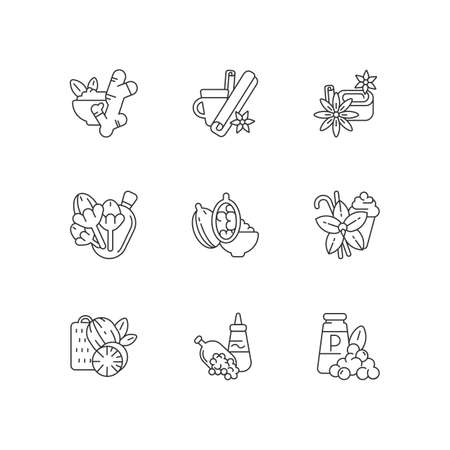 Culinary herbs and spices linear icons set. Aromatic flavoring. Asian seasonings. Nutmeg and cinnamon. Ginger and cloves. Customizable thin line contour symbols. Isolated vector outline illustrations Imagens - 153295255