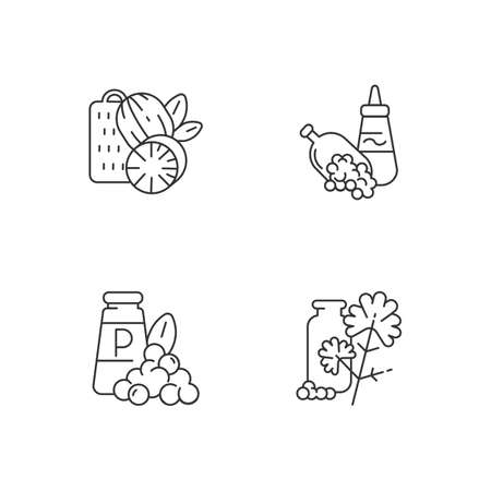Spicy condiments linear icons set. Natural supplement. Cooking condiment. Mustard and black pepper. Cilantro. Customizable thin line contour symbols. Isolated vector outline illustrations Ilustração
