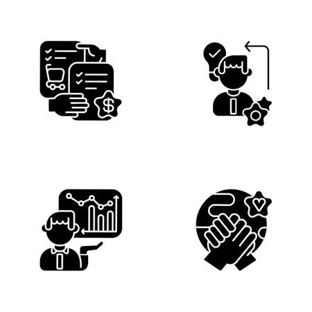 Business skills black glyph icons set on white space. Professional competence silhouette symbols. Selling skills, workers diligence, corporate presentation and tolerance. Vector isolated illustrations Vektorové ilustrace