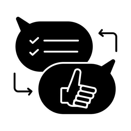 Criticism black glyph icon. Communication skills, conversation silhouette symbol on white space. Opinions exchange, constructive criticism, feedback. Speech bubbles vector isolated illustration