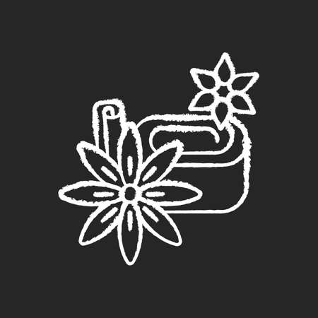 Star anise chalk white icon on black background. Chinese seasoning. Kitchen spices. Hot winter mulled wine ingredient. Cooking ingredient. Isolated vector chalkboard illustration