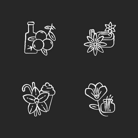 Spices chalk white icons set on black background. Aromatic flavoring. Food seasoning. Cooking condiment. Juniper. Star anise and vanilla sticks. Saffron. Isolated vector chalkboard illustrations