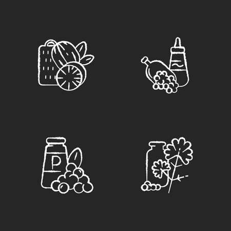 Spicy condiments chalk white icons set on black background. Food seasoning. Natural supplement. Cooking condiment. Mustard and black pepper. Cilantro. Isolated vector chalkboard illustrations Ilustração