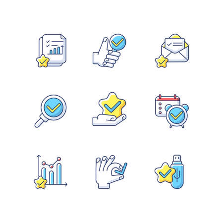 Approval checkmarks RGB color icons set. Document evaluation. Statistic progress assessment. Accounting and marketing analysis. Survey poll. Usb flash. Isolated vector illustrations Ilustração