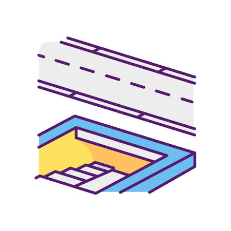 Underground pedestrian walkway RGB color icon. Safe pedestrian crosswalk. Underground tunnels. Modern city infrastructure. Disabled people accessible facilities. Isolated vector illustration 矢量图片
