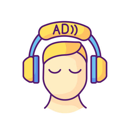 Audio description RGB color icon. Video description. Narration. Providing additional information. Audio described TV programmes. Disabled people accessible devices. Isolated vector illustration Ilustrace