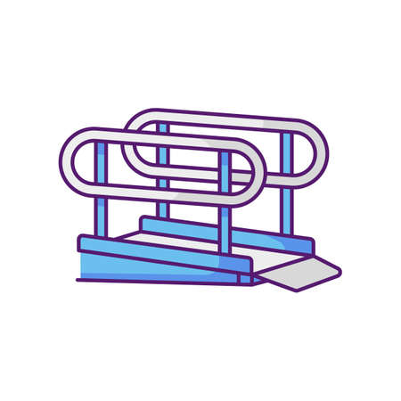 Wheelchair ramp RGB color icon. Outdoor inclined plane. Wheelchair users accessibility. Disabled persons. City infrastructure. Disabled people accessible facilities. Isolated vector illustration