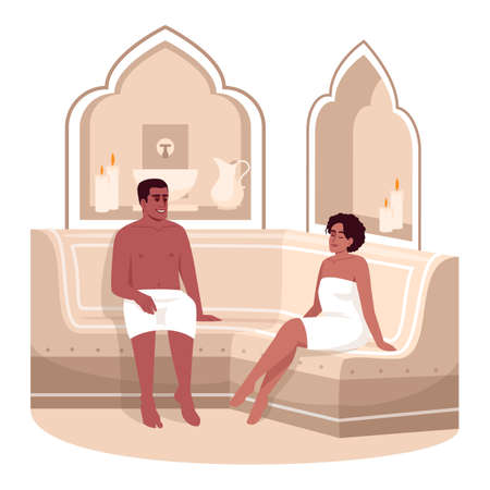 Sauna semi flat RGB color vector illustration. Spa treatment for man and woman in towels. Resort hotel. Boyfriend and girlfriend in bathhouse isolated cartoon character on white background Vecteurs
