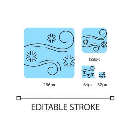 Blowing snow turquoise linear icons set. Windy weather forecast. Cold wind with snowflakes. Thin line customizable 256, 128, 64 and 32 px vector illustrations. Contour symbols. Editable stroke